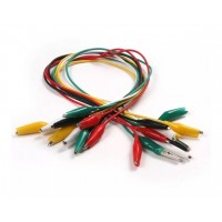 Pack 10 Cables Pinza Caimán Colores Largo 50Cm