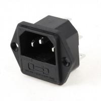 Conector Macho Chasis IEC C14 con Portafusible